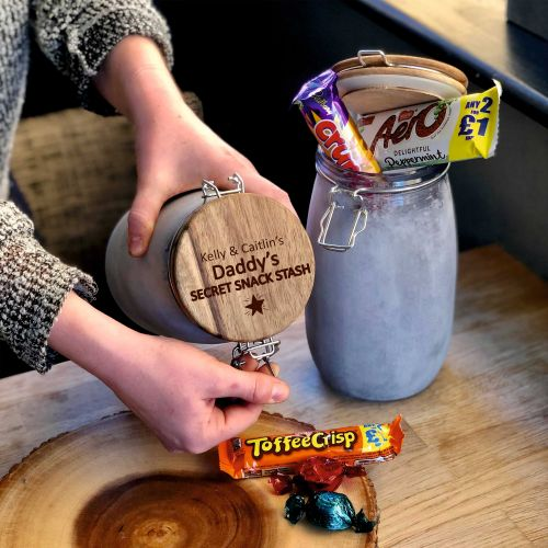 Personalised Daddy's Secret Snack Stash Treat Jar
