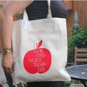Personalised Teacher Tote Bag - Red