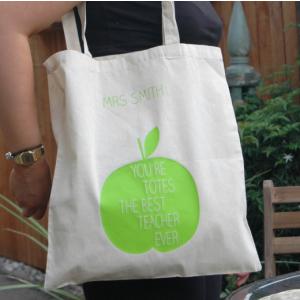 Personalised Teacher Tote Bag: Green