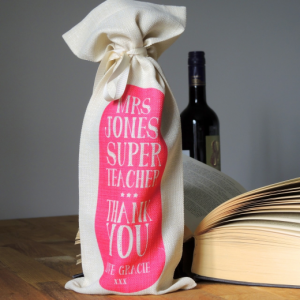 Personalised Cream & Pink Best Teacher Bottle Bag