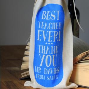 Personalised Cream & Blue Best Teacher Bottle Bag