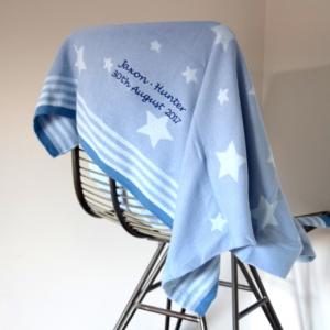 Blue & White Stars Baby Blanket