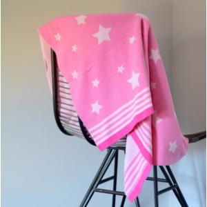 Pink & White Stars Baby Blanket