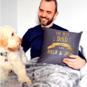 Personalised Best Dad Dark Grey Cushion