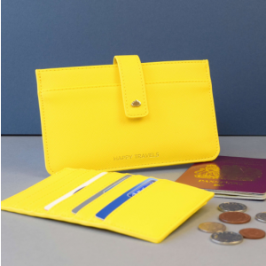 Yellow Leather Travel Wallet