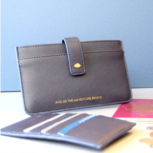 Navy Leather Travel Wallet