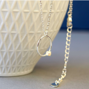 Silver Circle & Pearl Pendant Necklace