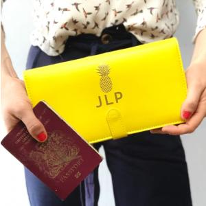 Yellow Pineapple Travel Wallet