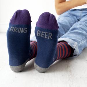 Bring Beer Slogan Socks