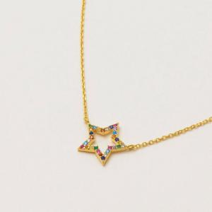 Rainbow Gold Star Necklace