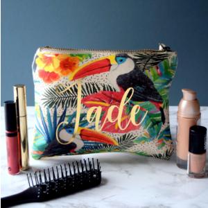 Personalised Tropical Print Make Up Bag