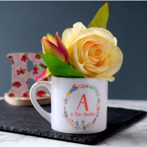 Personalised Floral Wreath Children's Mug