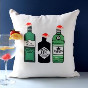 Three Christmas Gins Cushion