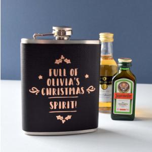 Personalised Leather Look Christmas Spirit Hip Flask