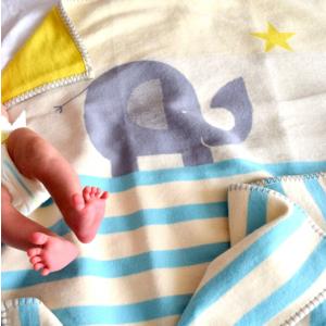 Personalised Blue Elephant Blanket