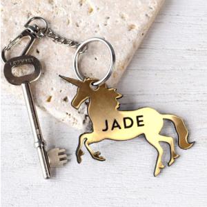 Personalised Copper Unicorn Keyring