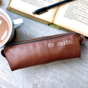 Personalised Brown Leather Effect Teacher Pencil Case