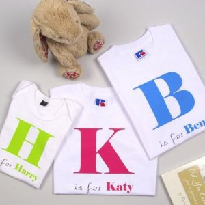 Personalised Alphabet Initial Baby Vests & T-shirts