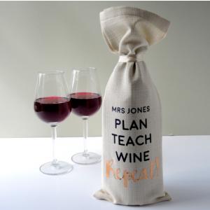 Personalised Plan Teach Wine Repeat Bottle Bag