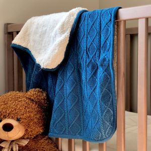 Blue Cable Knit Sherpa Blanket