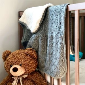 Personalised Grey Cable Knit Baby Blanket