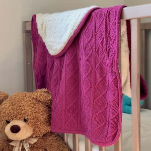 Pink Sherpa Cable Knit Baby Blanket